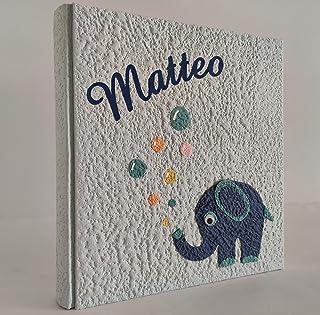 Album fotografico ELEFANTINO, elefante e bollicine in carta moon con nome INTAGLIATO in tela personalizzabile, regalo NASC...