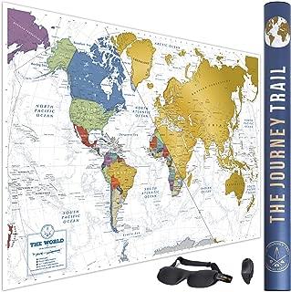 Mapamundi para Rascar para viajeros y familias - Scratch off World Map poster más grande (84x59cm) y con más destinos - Incluye Antifaz para un sueño profundo y reparador