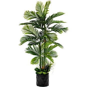 "GARDEN COUTURE Deluxe 78"" Golden Cane Palm Silk Artificial Tree + Premium Fiddle Leaf Foliage in 8"" Base + 12"" Plant Pot Skirt"