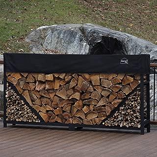 Shelter It 23808 Straight Kindling Kit and 1' Cover Log Rack, 8', Black