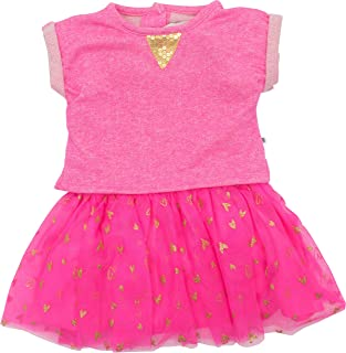 Cherokee Toddler Girls' Pink Dress with Slub Top, Mesh Ruffle Tulle Skirt and Gold Sequins