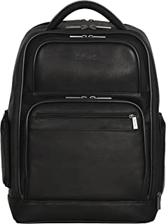 "Kenneth Cole Reaction Colombian Leather Dual Compartment 15.6"" Laptop Anti-Theft RFID Business Backpack, Black"