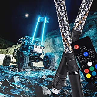 2pc 6ft Spiral LED Whip Lights w/Flag [21 Modes] [20 Colors] [Wireless Remote] [Weatherproof] Lighted Antenna Whips - Accessories for ATV Polaris RZR 4 Wheeler