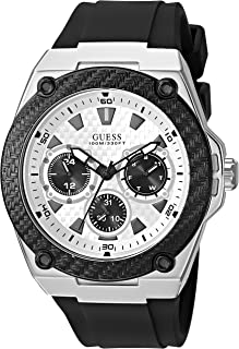 GUESS Black and Silver-Tone Sporty Watch