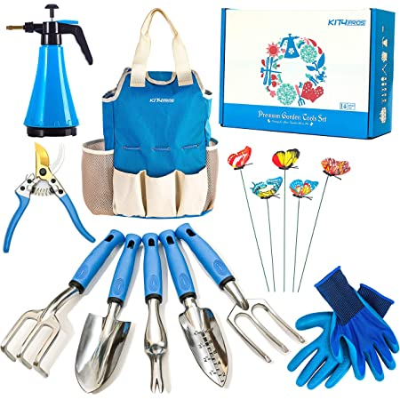 Garden Gift for Gardeners T Shirt Cotton, Small Barn Owl Stainless Steel Garden Tools 9 Piece Gardening Tools I Tools Sets with Heavy Duty Shear Non Slip Handle and Storage Tote Bag
