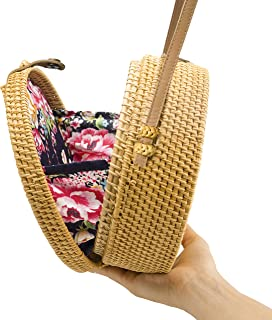 Handwoven Round Rattan Bag Shoulder Leather Straps...