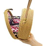 Handwoven Round Rattan Bag Shoulder Leather Straps Natural Chic Hand NATURALNEO