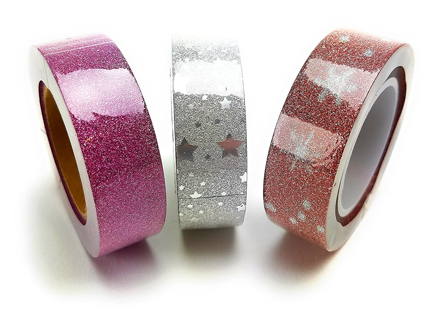 Premium Glitter Washi Tape Set - For Planner And Journal 3 Long Rolls 15mm Wide 3 Times Longer 32.75 Feet atxuucgqidh306