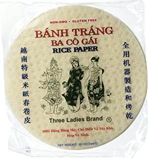 5 Packs Three Ladies Spring Roll Rice Paper ( Round 22 Cm )