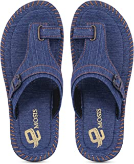 Emosis Men's Slipper Cum Sandal - Latest & Stylish Synthetic Leather - for Outdoor Formal Office Casual Ethnic Daily Use - Available in Blue Black Denim Color - 0354M
