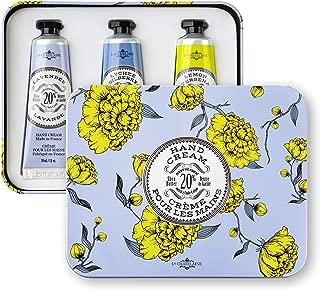 La Chatelaine 20% Shea Butter Hand Cream Travel Size Tin Gift Set, Lavender, Lychee Bilberry, Lemon Verbena