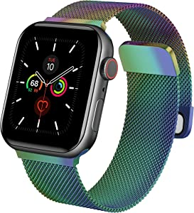 Metal Band Compatible with Apple Watch Band 38mm 40mm 42mm 44mm, Magnetic Stainless Steel Mesh Loop Band Women Men Adjustable Strap Replacement Wristband for iWatch Series 6 5 4 3 2 1 SE, Colorful