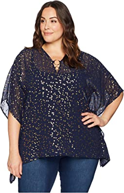 Plus Size Ditsy Blossom Foil Top