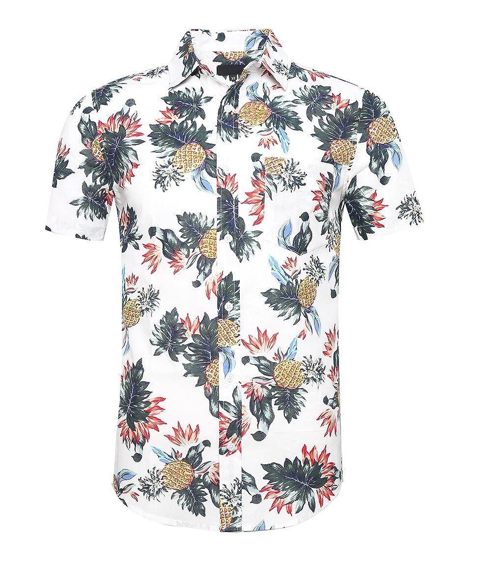 AVANZADA Men's Short Sleeve Hawaiian Shirt Cotton Button Down Shirts Palm Tree Printed Beach Wear Party Casual Holiday