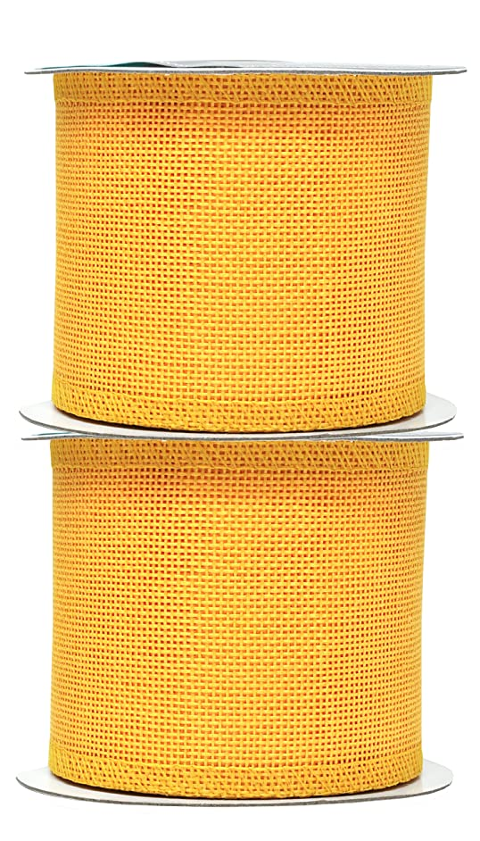 Mandala Crafts Burlap Ribbon, Jute Fabric Strip Spool for Rustic Ornament, Wreath Making, Holiday Decorating, Gift Wrapping (Yellow, 3 Inches)