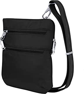 Anti-Theft Classic Slim Dbl Zip Crossbody Bag, Black