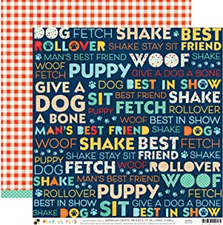 DCWVE Die Cuts with A View Pattern Paper Playful Pet-12 x 12-Double Sided-Dog Words 614916, Multi
