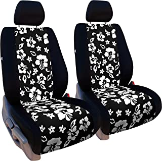 Front Seats: ShearComfort Custom Hawaiian Seat Covers for Nissan Rogue (2014-2019) in Black w/Black for Buckets w/Adjustable Headrests (All Models Except Select Model)