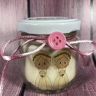 Comunione o Cresima Gemelli 15 candele di cera di soia bomboniere confezionate in scatolina trasparente con confetti Gemel...