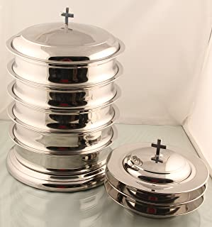 5 Communion tray set with base and lid 3 bread plate with lid -Mirror Finish