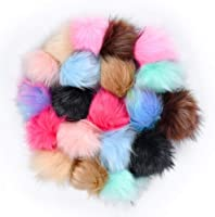Brown Junkin 50 Pieces Faux Fur Pom Pom Balls Faux Fox Fur DIY Pom Poms Fluffy Pompom Ball with Elastic Loop for Hats Keychains Scarves Gloves Bags Accessories