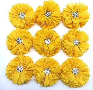 PEPPERLONELY 10PC Set Yellow Rhinestone Button Center Chiffon Fabric Flowers, 6.5cm(2-9/16 Inch)