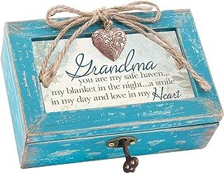 Grandma a Smile in My Heart Teal Wood Locket Jewelry Music Box Plays Tune Wind Beneath My Wings