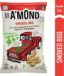 Smoked BBQ Snack Puffs by A'mond Snacks | Family Size Bag, 13oz | Almond and Ancient Grain Plant-Based Blend | Gluten-Free and Non-GMO
