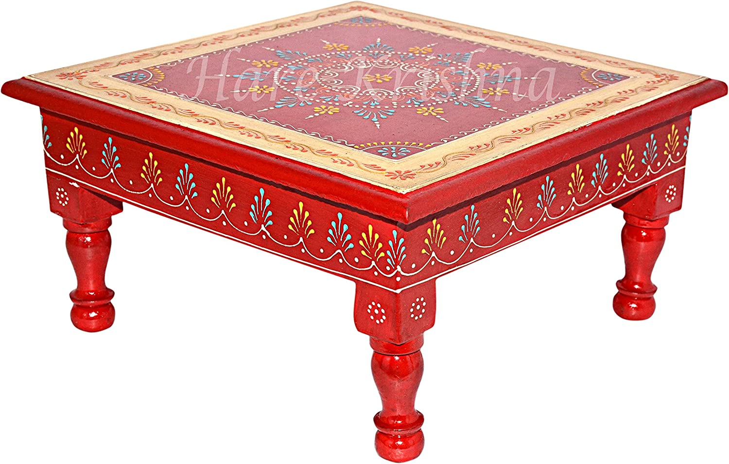 Kitchen Corner Table Wooden Chowki Bajot Hand Painted Coffee Side Low Table (Red) 11 x 11 x 5.5 Inches