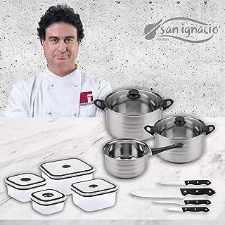 San Ignacio Premium Bateria 5 Piezas + 4 fiambreras + 4 Cuchillos, Acero Inoxidable