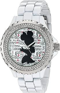 Disney Minnie Mouse Women's Enamel Spark White Alloy Watch, White Alloy Bracelet,W002804