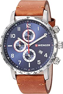 Men's Attitude Stainless Steel Swiss-Quartz Leather Strap, Brown, 21 Casual Watch (Model: 01.1543.108)