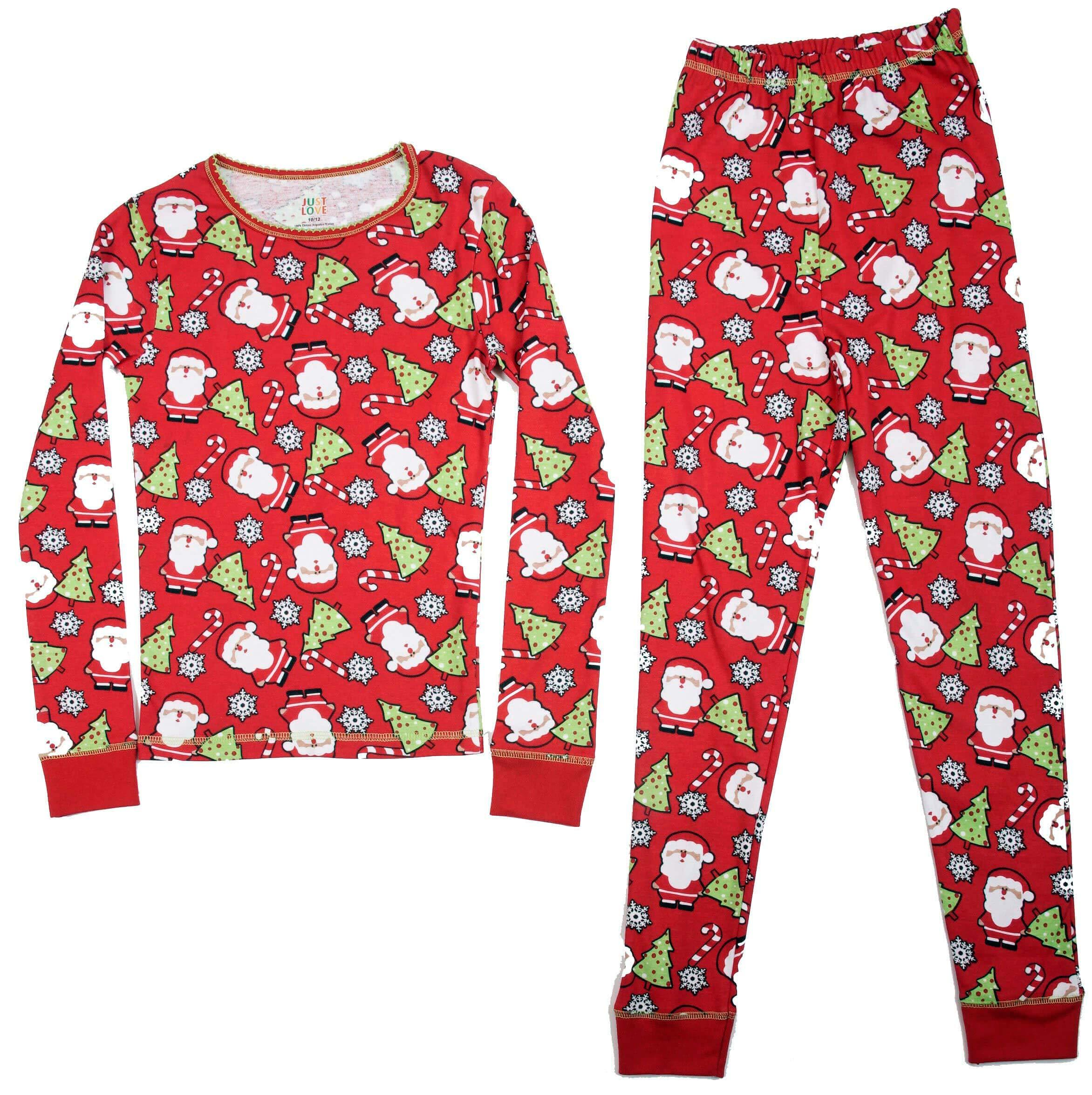 Image of All Over Print Santa Christmas Pajamas for Girls and Toddlers
