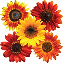 StikArt Removable Sunflower Wall Decals Printed on Waterproof Canvas (14 Yellow, Orange & Red Flowers)