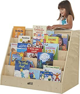 ECR4Kids Birch Book Display Stand with Storage, Wood Book Shelf Organizer for Kids, 5 Shelves with 2 Compartments, Natural