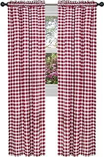 Achim Home Furnishings, Burgundy & Ivory Buffalo Check Window Curtain Single Panel, 42