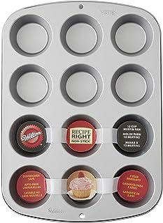 Wilton 03-3118 Moule à cupcakes/muffins, recette droite, antiadhésif, 12 trous, en acier