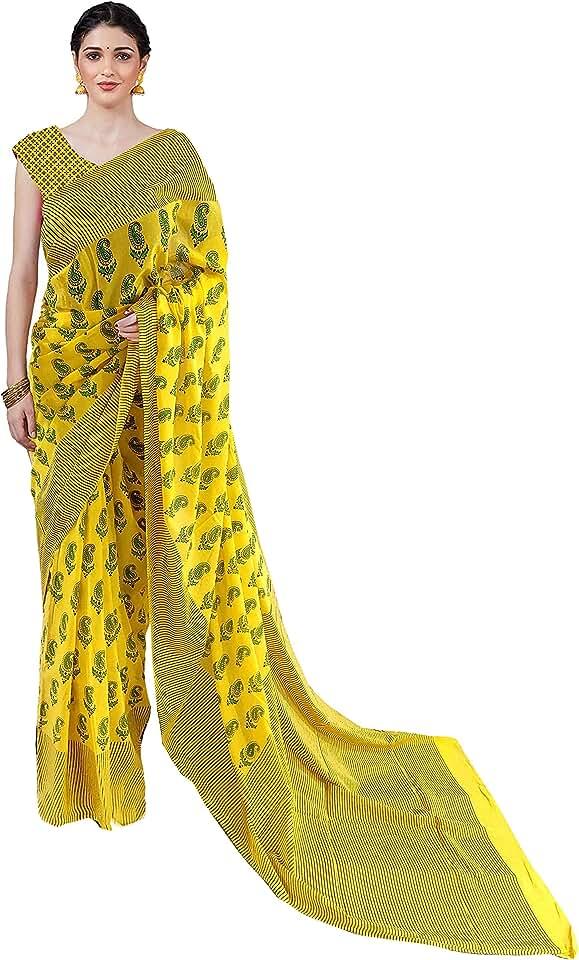 Indian Nikhilam Women's jaipuri hand block Printed Cotton Mulmul Saree/cotton malmal saree/cotton saree with Blouse piece - yello... Saree