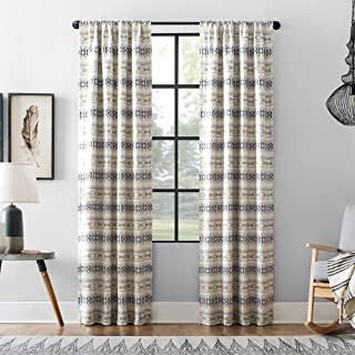 """Archaeo Ikat Stripe Cotton Blend Blackout Curtain, 40"""" x 95"""", White/Navy/Taupe"""