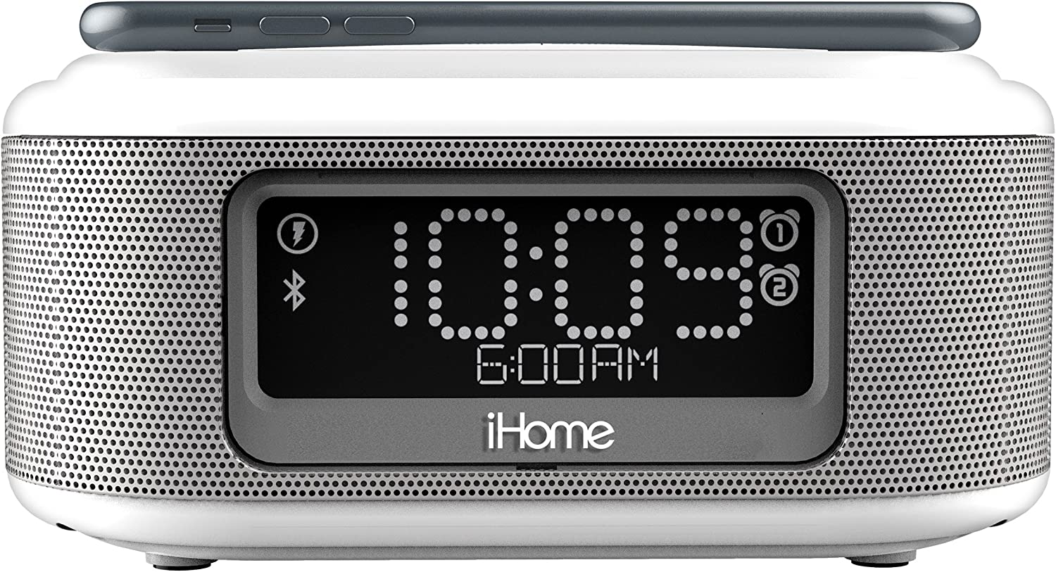 IHome iBTW23 Wireless Charging blueetooth Alarm Clock with Speakerphone & USB Charging Port For iPhone X 8 8Plus & More- White