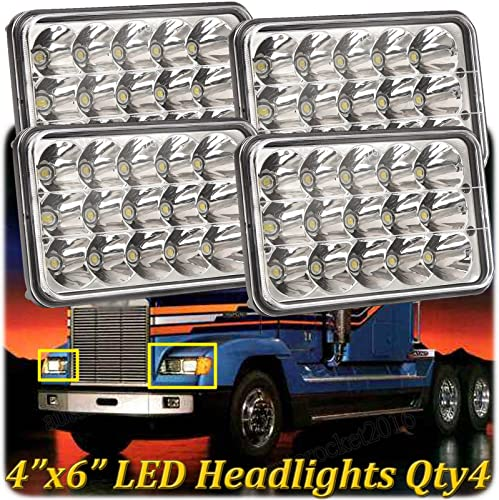 wholesale 4X6 LED Lights for Freightliner FLD120 high quality FLD112 Truck Headlight High Low Sealed Beam Rectangular Headlamps online Pack of 4, H4651 H4652 H4656 H4666 H6545 H4668 H4642, 2 Year Warranty outlet sale