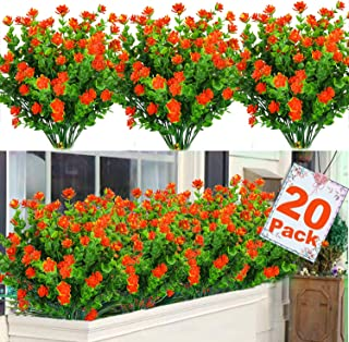 Dreamfun 20 Bundles Outdoor Artificial Flowers Plants Decoration - UV Resistant Plastic Flowers for Outside Faux Plants Fake Landscape Flowers Greenery Shrub Plants for Party Home Garden Decor(Orange)