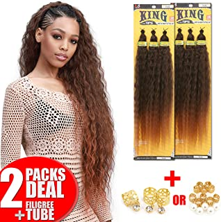 [2PACKS DEAL] Bobbi Boss King 3X Value Pre-Feathered Waves Tips Wet & Wavy Style 28