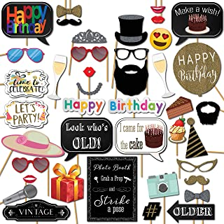 Birthday Photo Booth Props Party Kit 41 Pieces with Wooden Sticks and Strike a Pose Sign by Outside The Booth