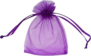ATCG 100pcs 8x12 Inches Large Drawstring Organza Bags Decoration Festival Wedding Party Favor Gift Candy Toys Pouches (Purple)