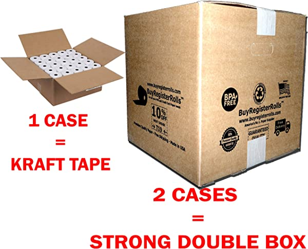 3 1 8 X 230 Thermal Paper Roll 50 Pack X 3 Cases Kraft Tape Over Packed Boxes Money Saver Value Pack From BuyRegisterRolls