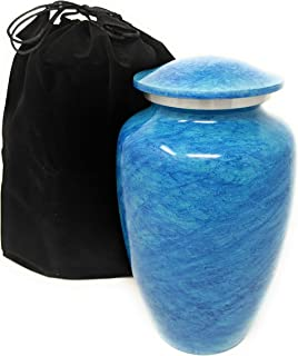Pisces Cremation Urn with Lid   Choose from 4 Colors   Adult Human Ashes Vase to Hold Your Loved Ones Ash Securely   Beautiful Classic Urns Matching Mini Keepsakes Available (Blue)