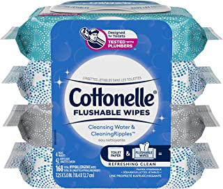 Flushable Wet Wipes, Cottonelle FreshCare, Biodegradable & Septic Safe, 4 packs of 42 (168 Wipes)