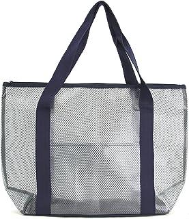 Practical PVC and Mesh Beach Tote Bag/Swimming Tote Bag/Shoulder Tote Bag Navy