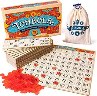 Tombola Bingo Board Game   The Italian Game of Chance for Family, Friends and Large Parties Up to 24 Players!   Includes Calling Board, 90 Tombolini Tiles, 24 Double-Sided Cards and 360 Chips